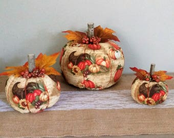 Fabric Pumpkins,Pumpkins, Fall Decor,Fall Decorations, Autumn Decor,Rustic Pumpkin,Centerpiece,Thanksgiving Decor,Home Decor, Cornucopia
