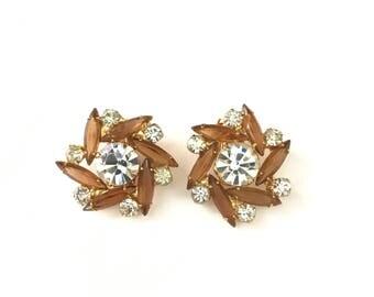 Gorgeous Vintage Navette Rhinestone Flower Clip Earrings