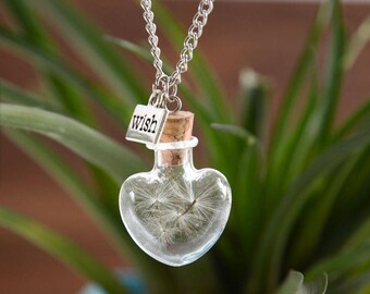 Dandelion Seed Glass Heart Cork Terrarium Jar Make a wish Charm Necklace