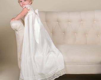 Jessica Silk Christening Gown, Silk Baptism Gown, Christening Gowns