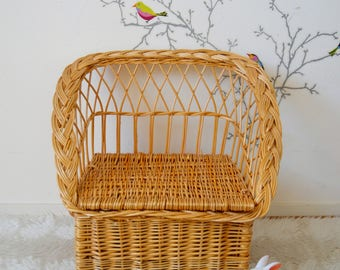 Chair rattan, Wicker, vintage old toy chest