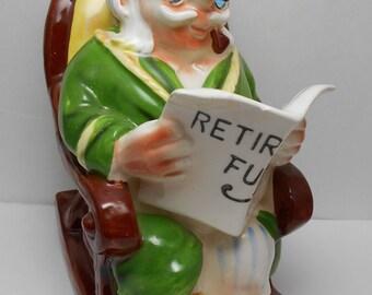 REDUCED!  Lefton Retirement Fund Bank, #4266 Old Man in Rocking Chair, Vintage Bank