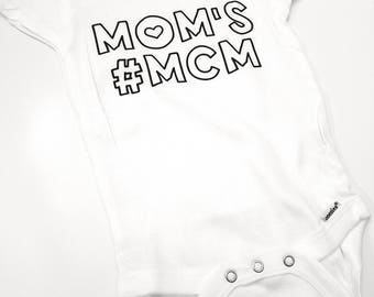 Mom's #MCM Baby Onesie, Man Crush Monday Baby Onesie, Mama's Boy Baby Bodysuit, Baby Shower Gift, Cute Baby Boy Outfit, Going Home Outfit