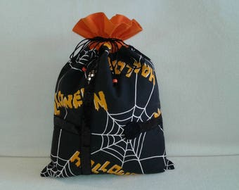Halloween cobwebs my orange and black DrawString