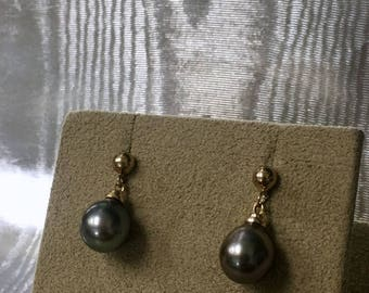 14k Yellow Gold Black Pearl Dangle Earrings
