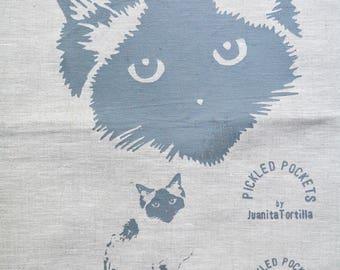 Linen Tea Towel Seal Point Birman Ragdoll Pickle Cat. Hand Printed Limited Edition. Oatmeal 6.