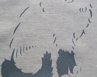 Linen Tea Towel Seal Mitted Ragdoll Kitten Mia. Hand Printed Stencil. Oatmeal 4.