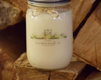 PNW campfire - 16 ounce all natural soy candle - mason jar candle