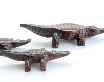 Hand Carved Wood Alligator, Wooden Figurines