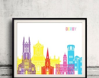 Derby  skyline pop - Fine Art Print Glicee Poster Gift Illustration Pop Art Colorful Landmarks - SKU 2443