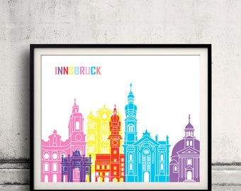 Innsbruck skyline pop - Fine Art Print Glicee Poster Gift Illustration Pop Art Colorful Landmarks - SKU 2477