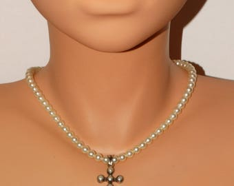 Sterling Silver Genuine White Pearl With Cross Necklace.