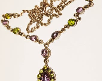 Sterling Silver Genuine Peridot And Amethyst Stone Necklace.