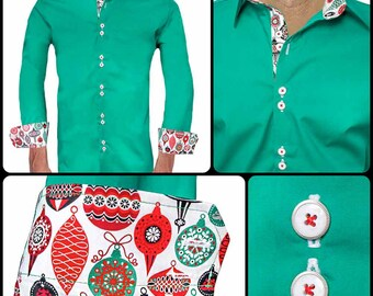Green and Red Christmas Accent Dress Shirts - Made in the USA