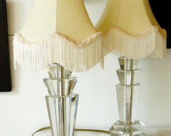 Pair of Vintage Italian 1950s Lead Crystal Table Lamps