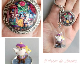 """Keychains disney """"beauty and the beast"""""""