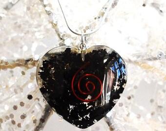 Shungite Orgone Crystal Heart Pendant Inc Silver Chain