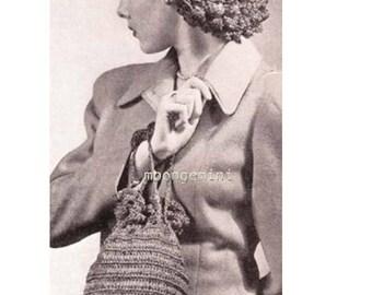 Straw Bag and Snood Crochet Hat Cap Harinet Hair Net Purse Handbag PDF Pattern