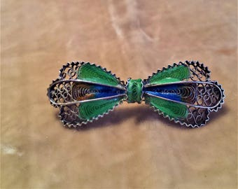 Silver, Enamel, Filigree Bow Pin
