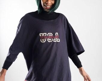 90s reworked blue Wrangler sport sweatshirt / Oversized Wrangler sweater / Remade sweater / Ladies fringe wrangler sweatshirt / Size XXL