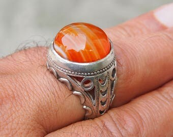 antique handmade Silver Carnelian stone turkmen statement AQEEQ  ring from Afghanistan No:439