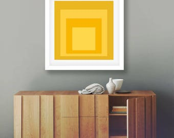 Abstract Decor Yellow Wall Art Modern Wall Art Print Yellow Squares Yellow Decor  Modern Art Print