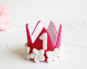Princess Mini Crown | Birthday Crown | Princess Felt Crown | First Birthday Crown | Headband Crown | Bbay Tiara | Cyclamen | Baby Shower