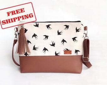 Womans gift - Shoulder Bag - Girlfriend gift - Crossbody Bag - Birds - Women Bags - Crossbody Purse - Handbag with birds