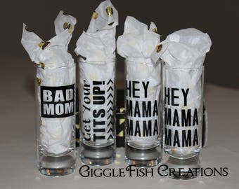 BAD MOM Shot Glasses (Set of 4) | Gift Box Included | Mom Humor | Funny Mom Gift | Bad Mom Gift | Funny Mother's Day