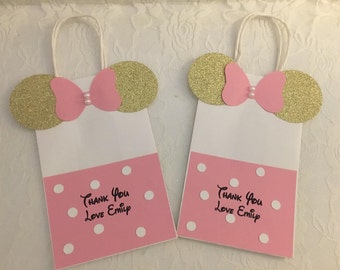 Minnie Mouse Paper Favor Bags- Minnie Mouse Birthday Favor Bags-goodie bags- Minnie Mouse Gold and Pink goodie Bags