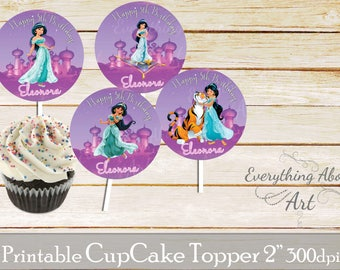 Jasmine Cupcake toppers printable, Princess Jasmine birthday, Printable cupcake toppers, Birthday party supplies, Jasmine  Cupcake toppers