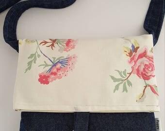 Ladies' shoulder bag, shoulder bag, crossbody bag,messenger bag, denim bag, foldover bag, front detail fastener, lobster clasp fastener