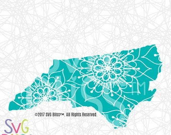 North Carolina SVG, SVG File, State SVG, Mandala State Cutting File, Cricut/Silhouette Digital Download Cut File