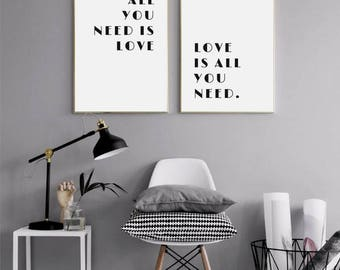 All you need is love, Beatles Lyrics, Love Is All You Need print, Love is all print, Beatles quote print, Beatles print, The Beatles song