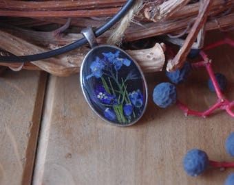 Valentine's Day Gift Silver jewelry flowers jewelry blue flowers forget-me-not silver pendant  silver necklace botanical pressed flowers