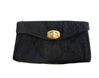 Black Ribbed Fabric Clutch, Small Corded Evening Purse, Circa 1940s
