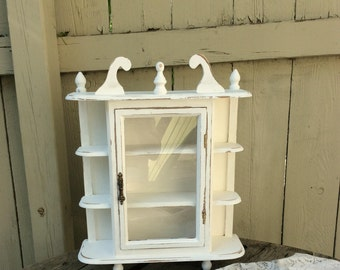 Shabby Chic Winter White Curio Cabinet