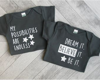 INSPIRE! Organic Baby Clothes, Baby Bodysuit , Unique Baby Outfit, Cute Onesie, Organic One Piece, Baby Clothes, Gender Neutral Baby Gift