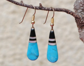 Earrings turquoise, onyx, mother of pearl vintage