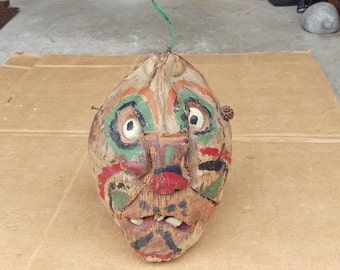 Ugly face head mask,weird spooky bizarre creepy coconut shell fork art,voodoo tribal Halloween decor figurine