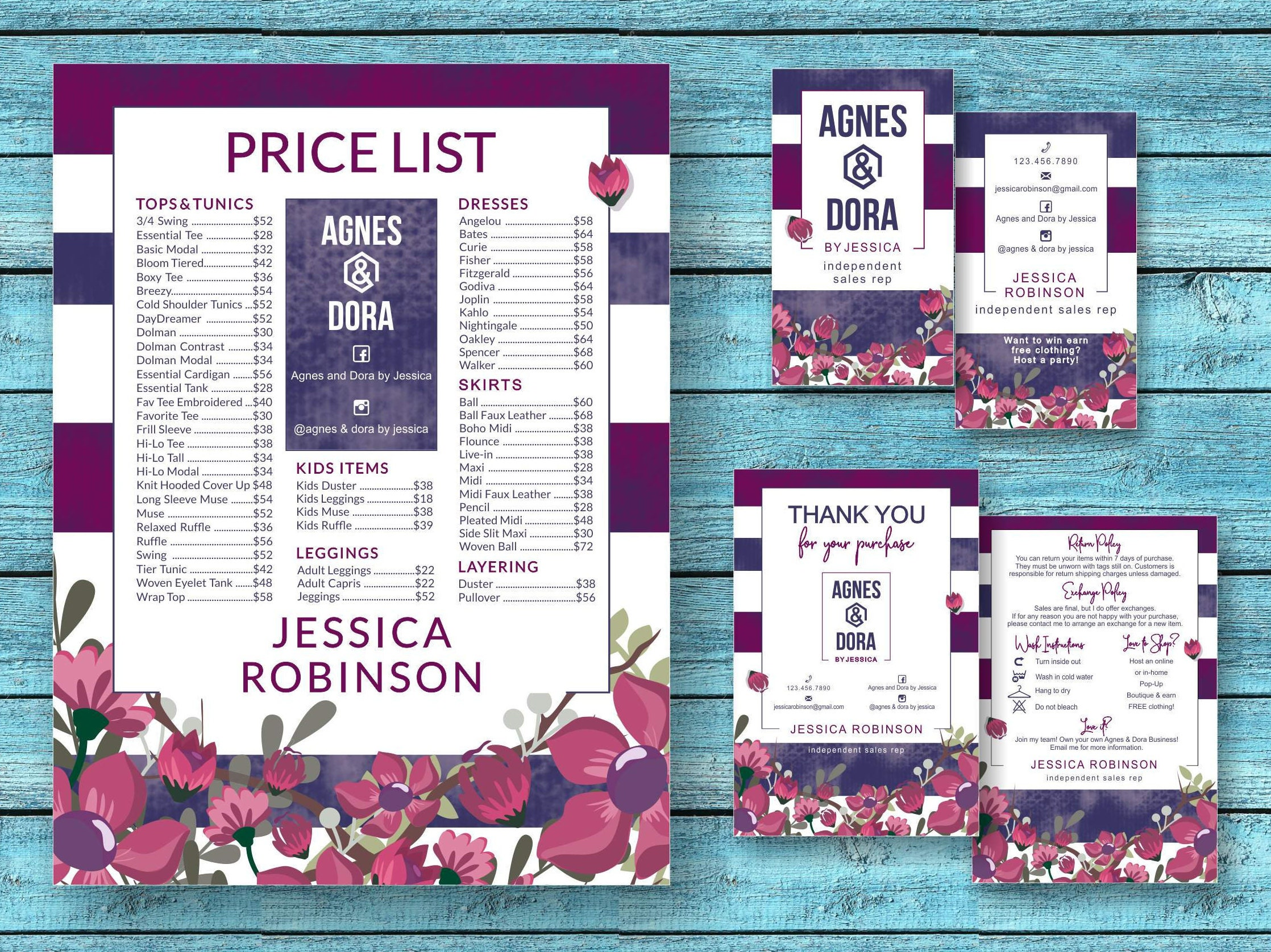 agnes and dora marketing kit business cards price chart