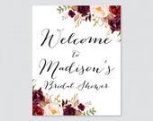 Rustic Marsala Floral Bridal Shower Welcome Sign Printable - Garden Party Bridal Shower Customizable Sign - Pink Bridal Shower Decor 0033