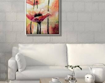 Original Painting, Landscape Painting, Flower Painting, Floral Wall Art, Vertical Painting, Original Oil Painting Flowers, Floral Painting