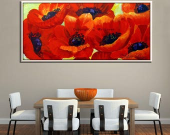 Red Painting, Red Canvas Art, Extra Large Wall Art Flower Painting, Flower Oil Painting, Big Painting, Extra Large Canvas Art, Red Painting