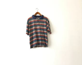 Wild Colorful Pattern 90s Polo Shirt - L