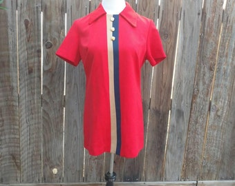 Vintage 70's Polyester Women's Shirt Tunic Long Shift Red Striped Collar Graff L