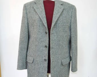 Classic Harris Tweed Jacket. Grey Herringbone Wool Tweed 46 chest. VGC  Scottish Tweed Sports Jacket