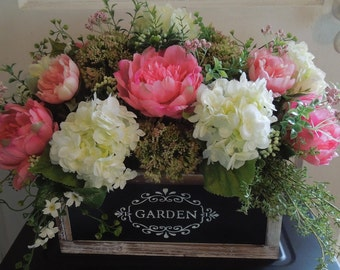 Peony and Hydrangea Lg Garden Box floral Arrangement Centerpiece