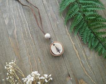 Tree Wood Burned Necklace