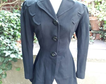 Late 1940's vintage unique black wool fitted and flared jacket size small